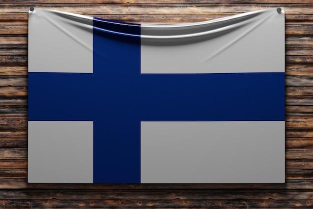 Ilustração da bandeira nacional de tecido da finlândia pregada em uma parede de madeira