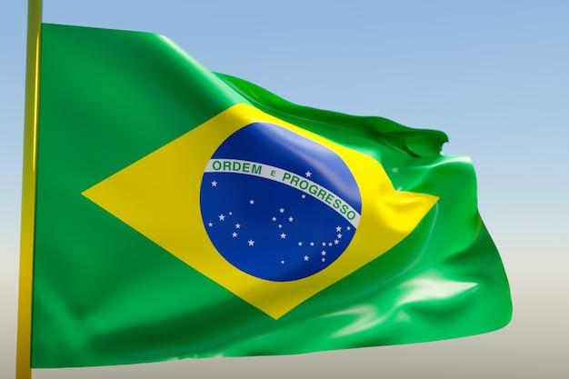 Ilustração da bandeira nacional do brasil em um mastro de metal tremulando contra o céu azul