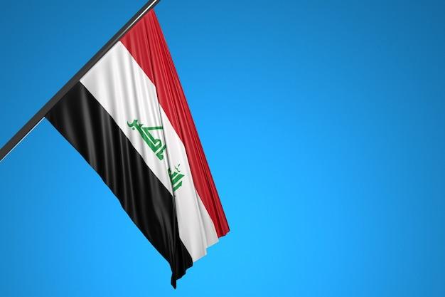 Ilustração da bandeira nacional do iraque em um mastro de metal tremulando contra o céu azul