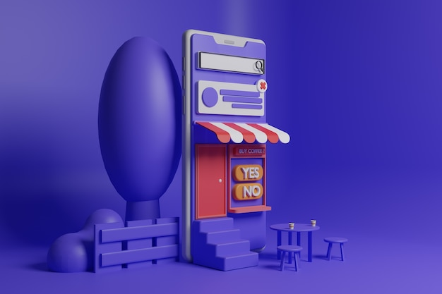 Ilustração da cafeteria em smartphone 3d