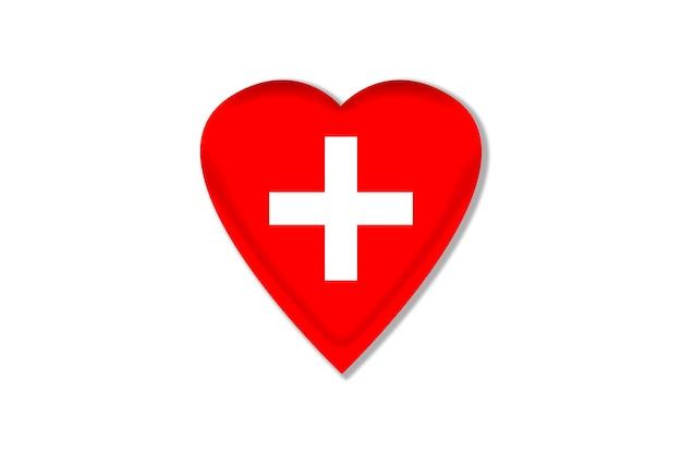 Ilustração da cruz branca em um coração