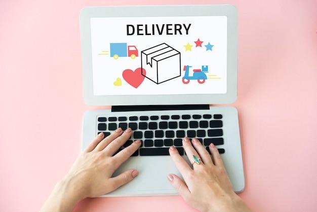 Ilustração da entrega de pacotes de transporte