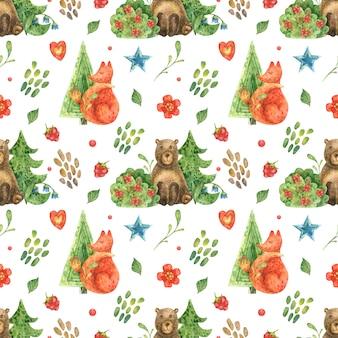 Ilustração da floresta e animais fofos da floresta de urso e raposa