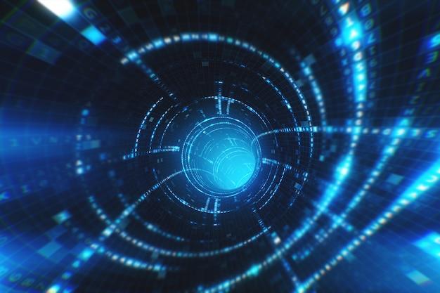 Ilustração da jornada 3d do túnel de dados disparado dentro do cabo de fibra óptica. transmissão de informação digital como sinal binário