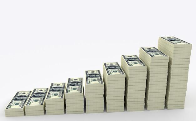 Ilustração da pilha de muito dinheiro dos dólares dos eua. conceitos de finanças