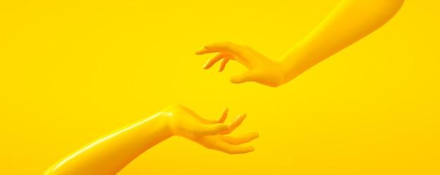 Ilustração da rendição 3d das mãos amarelas. partes do corpo humano.