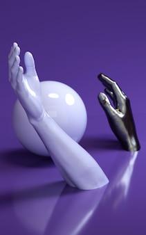 Ilustração da rendição 3d das mãos do homem no estúdio roxo com esfera. partes do corpo humano.