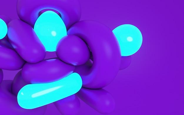 Ilustração da rendição 3d de formas dinâmicas macias. cor roxa em negrito e material de luz neon.