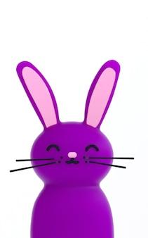 Ilustração da rendição 3d do coelho bonito do roxo do feriado da páscoa do kawaii. papel de parede animal brilhante engraçado.