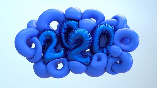 Ilustração da rendição do ano 2020 3d novo. formas abstratas azuis com folha metálica números letras.