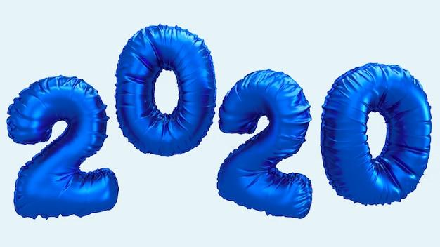 Ilustração da rendição do ano 2020 3d novo. números de folha metálica azul letras voando no ar.