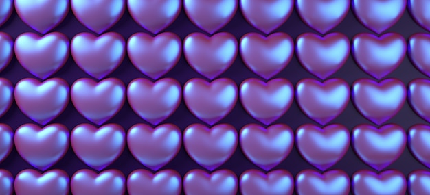 Ilustração da rendição do teste padrão 3d do fundo dos corações do dia de valentim. postura plana holográfica de néon roxo.