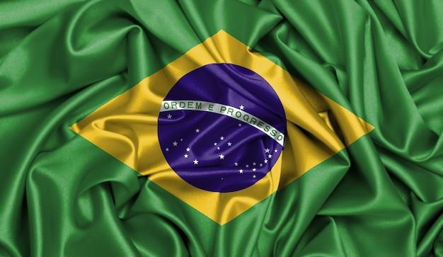 Ilustração da textura da tela do cetim da bandeira de brasil.