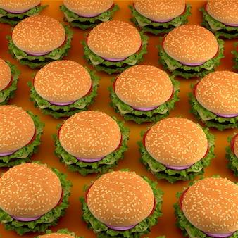 Ilustração da vista superior de hambúrgueres.