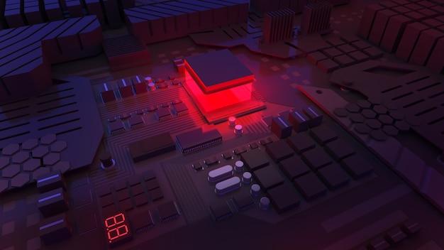 Ilustração de alarme do sistema de computador; unidade de processamento central; tecnologia de processamento de trabalho