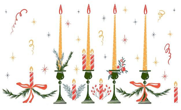 Ilustração de ano novo de elementos decorativos de velas bagas vermelhas ramo de abeto isolado no branco