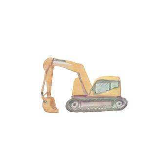 Ilustração de aquarela de máquinas de construção à mão