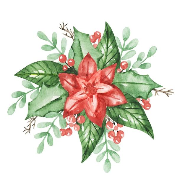 Ilustração de aquarela poinsétia, clipart de decoração de natal, poinsétia isolada, decoração de ano novo