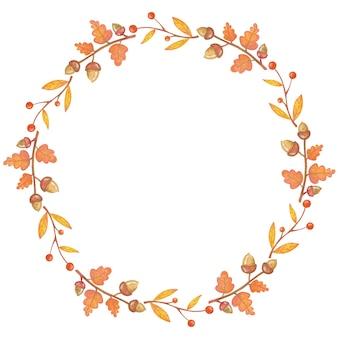 Ilustração de árvore de outono e moldura de bolota