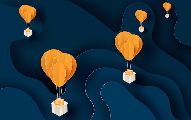Ilustração de balão amarelo flutuante e caixa de presente