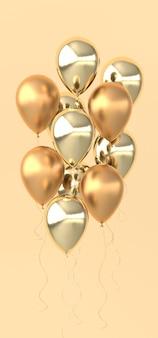 Ilustração de balões dourados brilhantes em fundo bege