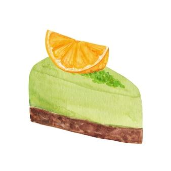 Ilustração de bolo em aquarela, clipart de pedaço de bolo, sobremesa de pistache com fatia de laranja