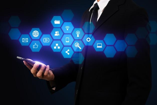 Ilustração de canais de marketing digital interativo