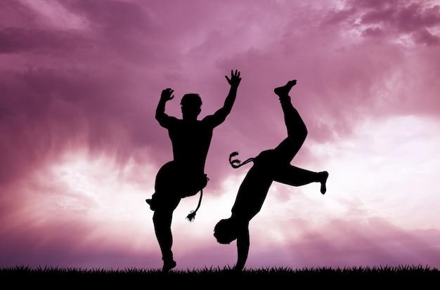 Ilustração, de, capoeira, dança