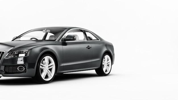 Ilustração de carro esporte novo genérico de luxo cinza detalhada isolada em uma superfície branca