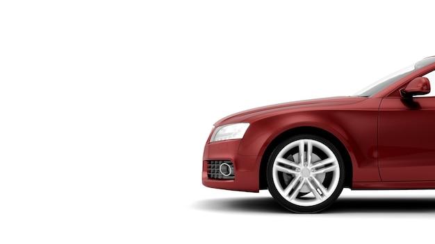 Ilustração de carro esporte novo genérico de luxo vermelho detalhe isolada em uma superfície branca