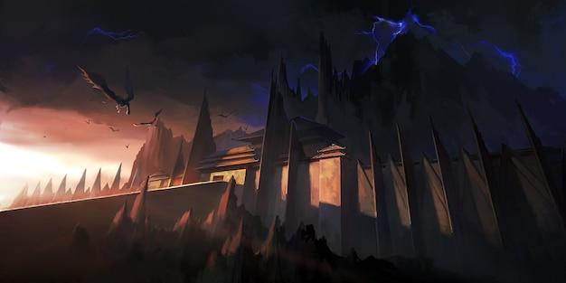 Ilustração de castelo escuro assustador.