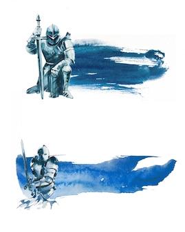 Ilustração de cavaleiro pintado à mão em aquarela.