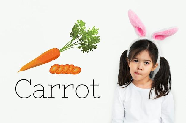 Ilustração de cenoura nutritiva com comida saudável