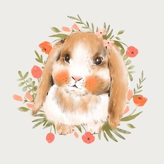 Ilustração de coelhinha fofa com flores