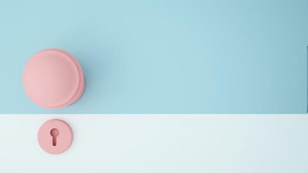 Ilustração de conceito de arte de papel maçaneta da porta fundo de cor pastel - renderização 3d