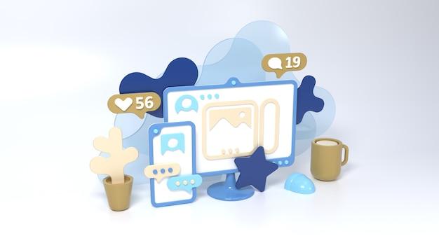 Ilustração de conceito de estilo 3d de mídia social com smartphone, computador, xícara e flor. comunicação de pessoas em redes sociais. curta, comente e siga os ícones.