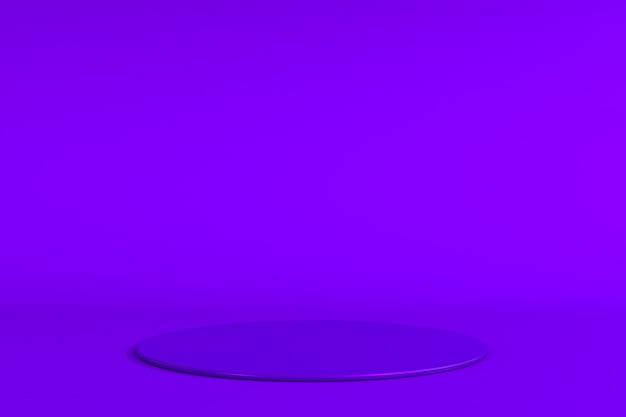 Ilustração de conceito de pódio de palco roxo redondo isolada no fundo roxo