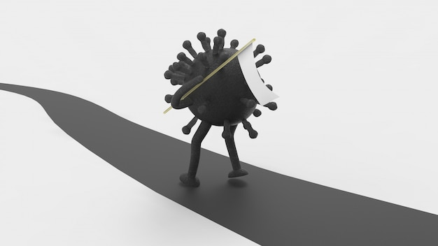 Ilustração de coronavírus com bandeira branca