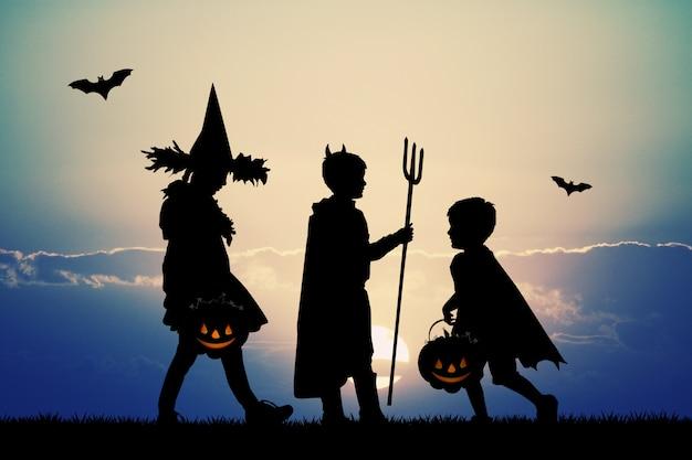 Ilustração de crianças com doces ou travessuras para o halloween