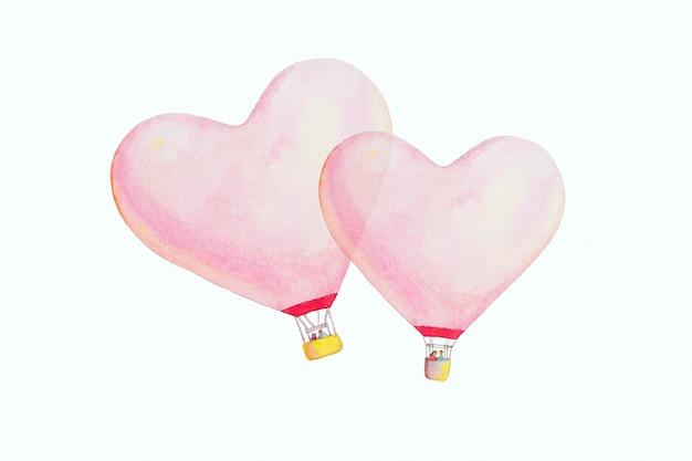 Ilustração de desenho de balões de ar quente com coração rosa