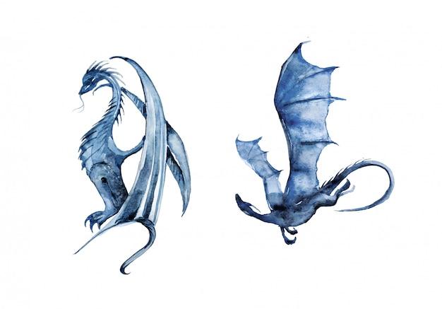 Ilustração de dragões em aquarela de pintados à mão