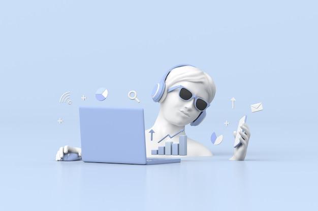 Ilustração de escultura de mulheres está usando laptop com gráfico de negociação de ações, gráfico de estratégia de crescimento, conceito de negócio. renderização 3d.