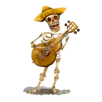 Ilustração de esqueleto cantando. dia dos mortos, cinco de mayo cartão vintage em fundo branco