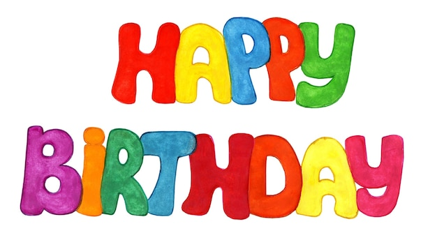Ilustração de feliz aniversário festiva de inscrição multicolorida isolada no fundo branco