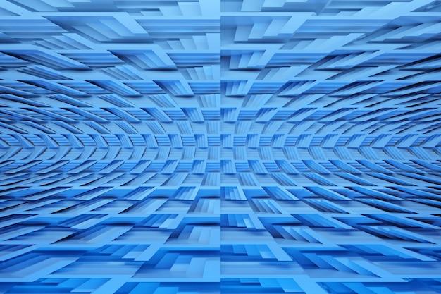 Ilustração de fileiras de cubos e listras azuis