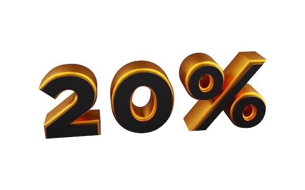 Ilustração de fonte 3d dourada de 20 por cento. ilustração 3d dourada de vinte por cento.