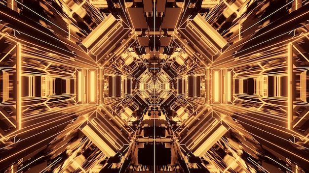 Ilustração de formas geométricas com luzes de laser amarelas brilhantes - perfeitas para fundos