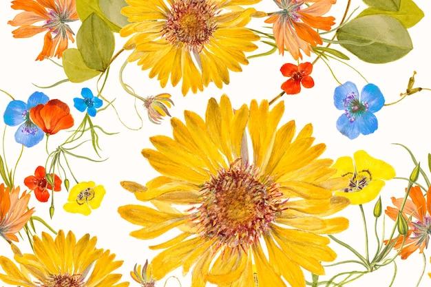 Ilustração de fundo de padrão desenhado à mão com flores coloridas, remixada de obras de arte de domínio público