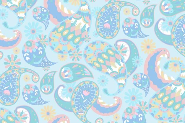 Ilustração de fundo ornamental de padrão paisley em azul pastel