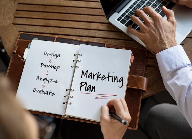 Ilustração de gráfico de processo de negócios de plano de trabalho